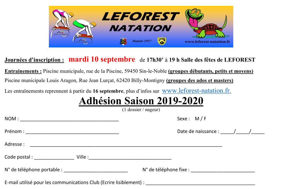 e34e2eee39 Leforest natation club
